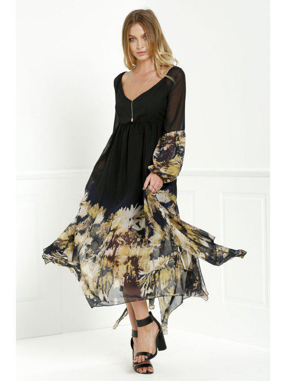 chic Long Sleeve Printed Maxi Chiffon Dress - BLACK S