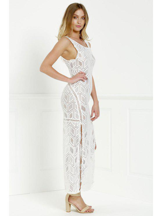 affordable Hollow Back Openwork Lace Hook Slit Dress - WHITE M