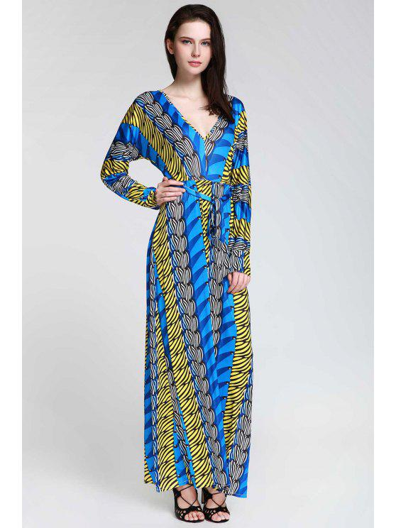 women Plunge Printed Long Sleeve Maxi Dress - SAPPHIRE BLUE L