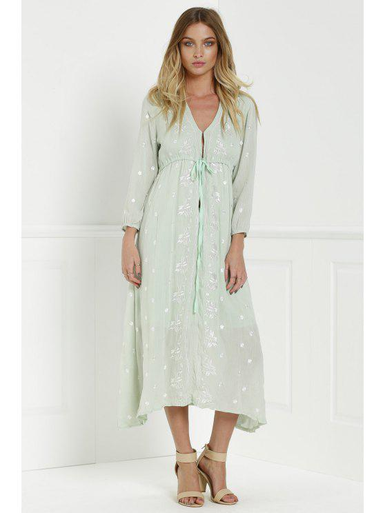 chic Midi Floral Embroidered Dress - SAGE GREEN S