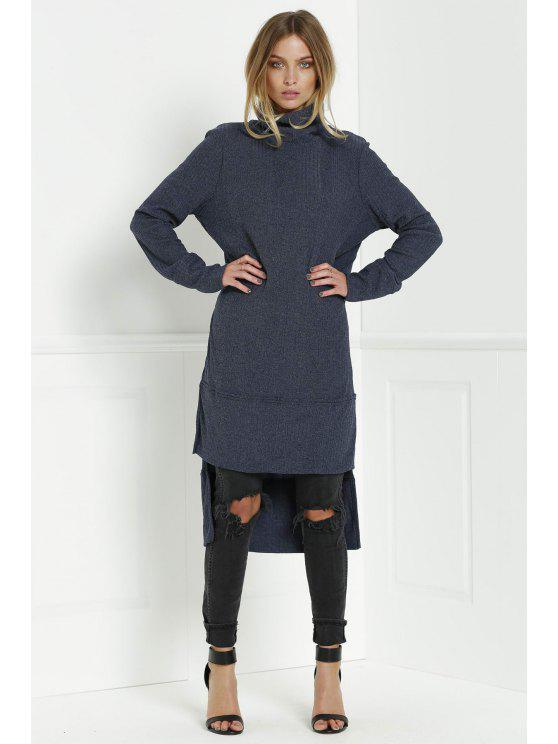 lady Solid Color Turtle Collar Sweater Dress - DEEP BLUE L