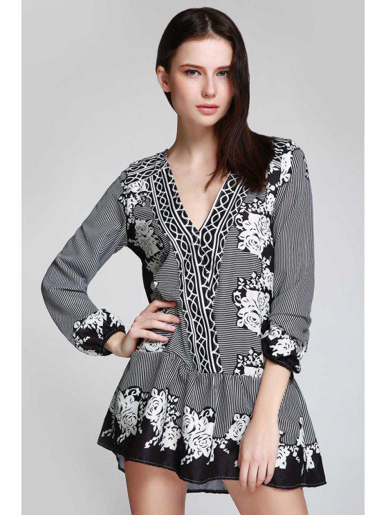 lady V Neck Striped Floral Flare Dress - BLACK L