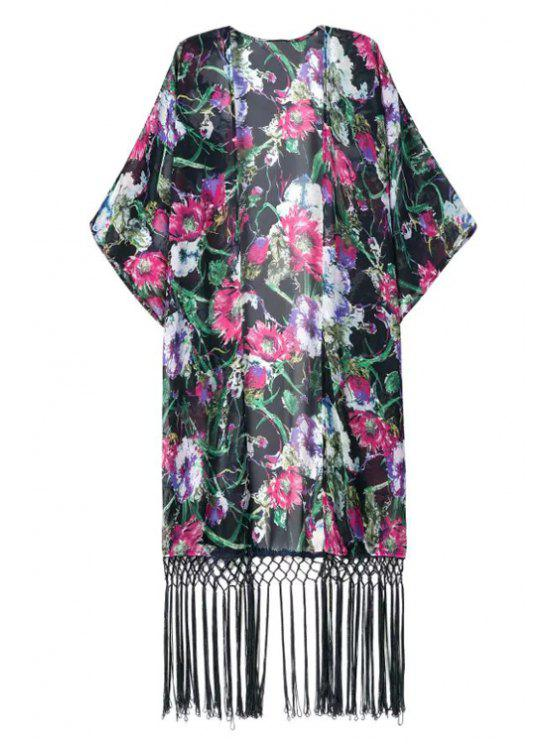 sale Open Front Floral Fringed Chiffon Kimono - BLACK ONE SIZE(FIT SIZE XS TO M)