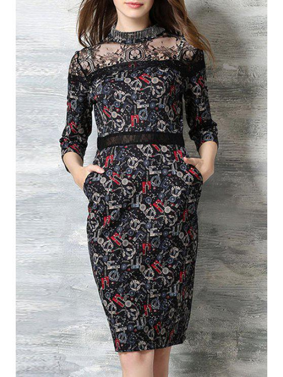 sale Lace Splicing Stand Neck 3/4 Sleeve Dress - BLACK XL