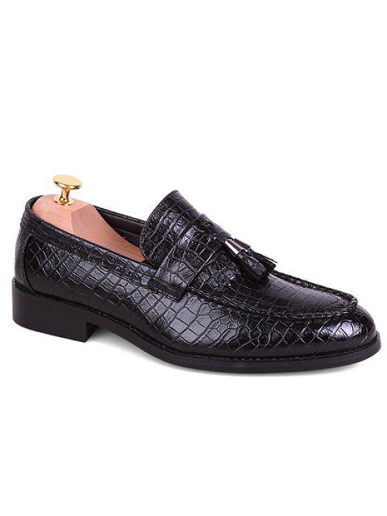 Stylish Crocodile Print et PU Leather Design Men's Formal Shoes - Noir 43