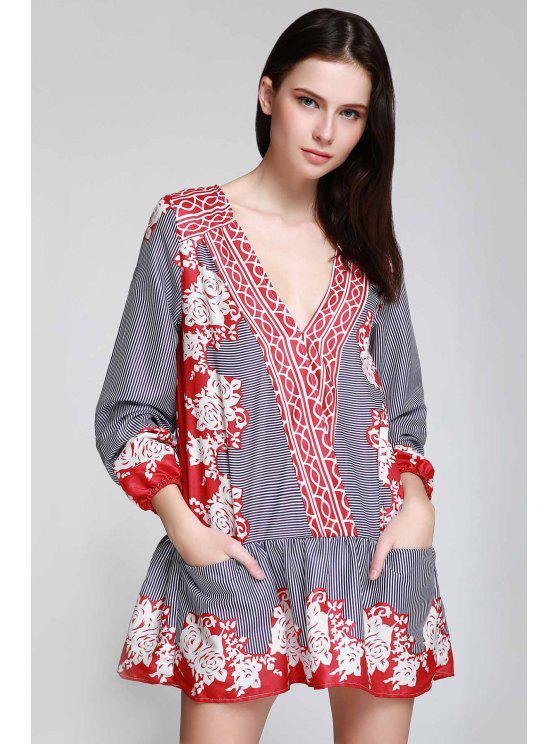 unique V Neck Striped Floral Flare Dress - CLARET L