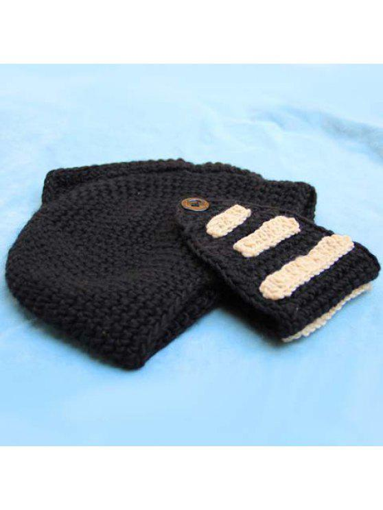 Stylish Stripy and Button Embellished Knight Knitted Hat For Men - สีสุ่ม