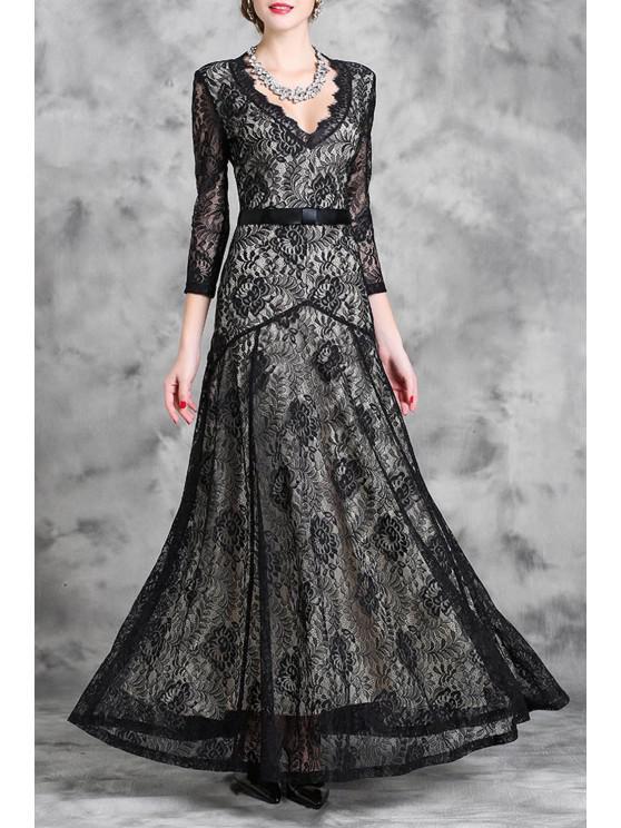 95d3b5007e6cc Lace Plunging Neck 3/4 Sleeve Maxi Dress