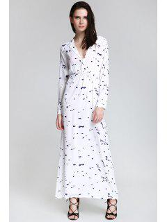Ink Print Shirt Neck Long Sleeve Maxi Dress - White L