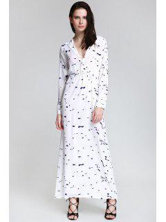 Ink Print Shirt Neck Long Sleeve Maxi Dress - White Xl