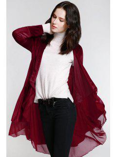 Swingy Velvet Long Sleeve Coat - Claret L