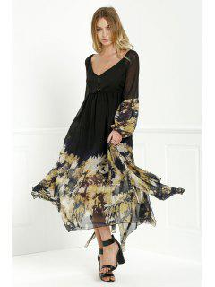 Long Sleeve Printed Maxi Chiffon Dress - Black Xl