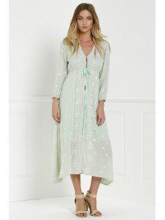 Robe Longue Col V à Broderie Floral - Vert Cendré S