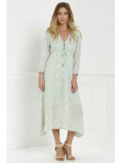 Midi Floral Embroidered Dress - Sage Green M