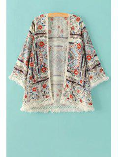 Blusa De Kimono Con Flecos Con Estampado Floral - Blanco L