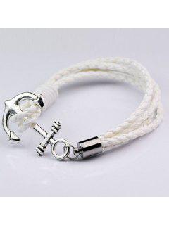 Bracelet à Plusieurs Branches En Simili Cuir Motif Ancre  - Blanc