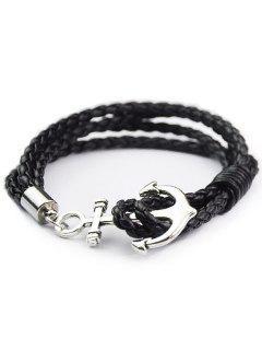 Anchor Faux Cuir En Couches Bracelet - Noir