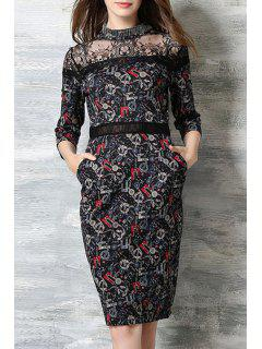Lace Splicing Stand Neck 3/4 Sleeve Dress - Black S