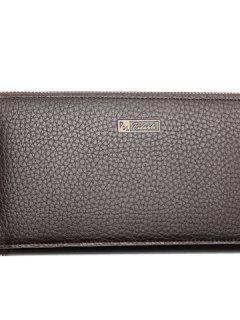 Casual Lichee Pattern And PU Leather Design Men's Clutch Bag - Coffee