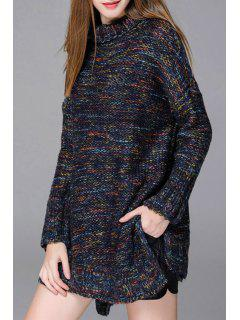 Turtleneck Mixed Color Side Slit Long Sweater - Cadetblue