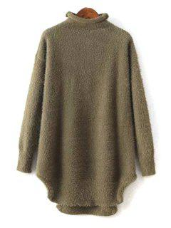 Half-Collar Long Sleeve Solid Color Jumper - Green
