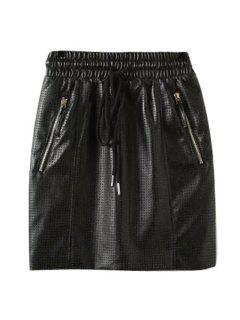 Elastic Waist Eyelets PU Leather Skirt - Black L