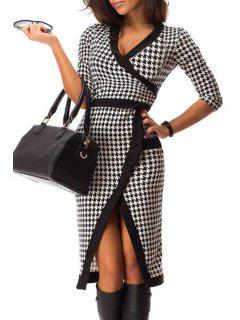 Houndstooth V Neck Half Sleeve Dress - White And Black L