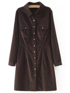 Corduroy Slimming Long Sleeve Shirt Collar Dress - Coffee L