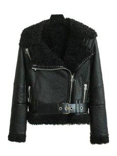 PU Leather Long Sleeve Fur Collar Jacket - Black L