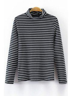 Striped Turtle Neck Long Sleeve T-Shirt - Black S