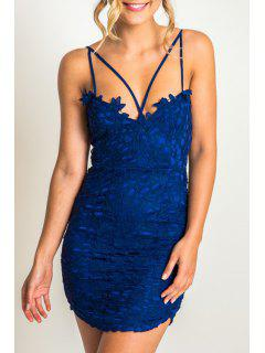 Lace Cami Bodycon Dress - Blue Xl