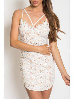 Lace Cami Bodycon Dress - White S