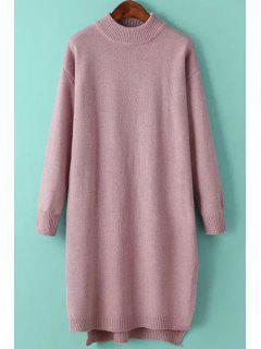 Solid Color Side Slit High Low Hem Sweater Dress - Pink