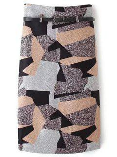 Geometric Print Color Block Woolen Skirt - S