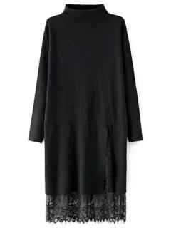 Lace Spliced Side Slit Mock Neck Sweater - Black