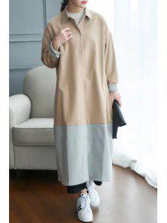 Color Block Turn-Down Collar Long Coat - Khaki