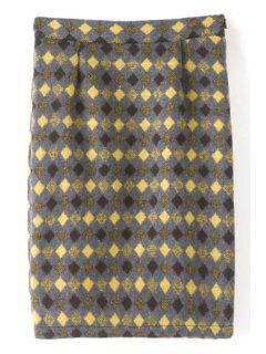Argyle Pattern High Waisted Woolen Skirt - M