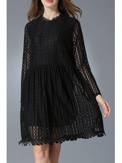 Lace Round Neck Long Sleeve Dress - Black 2xl