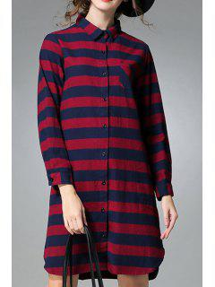 Red Striped Shirt Neck Long Sleeve Shirt - Red
