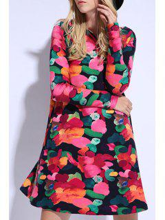 Colorful Print Long Sleeve Dress - Red 3xl
