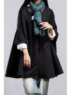 Pure Color Scoop Neck 3/4 Sleeve Loose Coat - Black