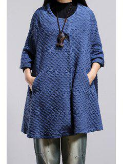 Pure Color Scoop Neck 3/4 Sleeve Loose Coat - Blue