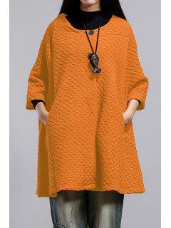 Pure Color Scoop Neck 3/4 Sleeve Loose Coat - Orange