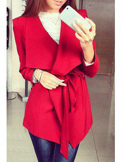 Large Lapel Self-Tie Belt Trench Coat - Red S