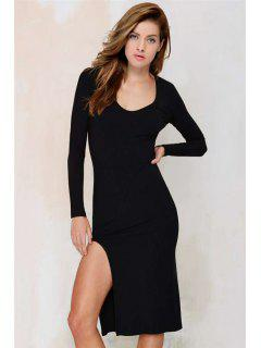 Side Slit Plunging Neck Long Sleeve Bodycon Dress - Black L