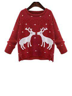 Christmas Elk Jacquard Sweater - Red