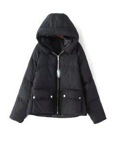 Solid Color Hooded Long Sleeve Pockets Padded Coat - Black