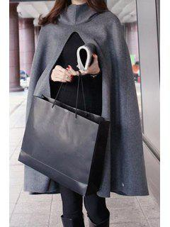 Solid Color Hooded Cape Coat - Gray Xl