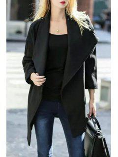 Solid Color Turn-Down Collar Wool Coat - Black S