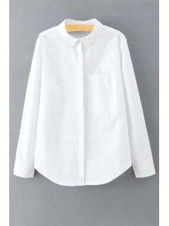 Solid Color Long Sleeve Shirt Collar Shirt - White S